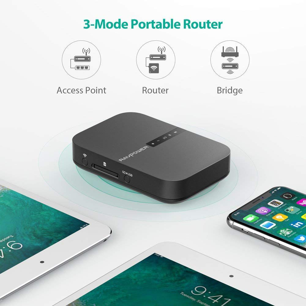 The Ravpower Filehub can wirelessly transfer files, photos and videos to and from your devices.