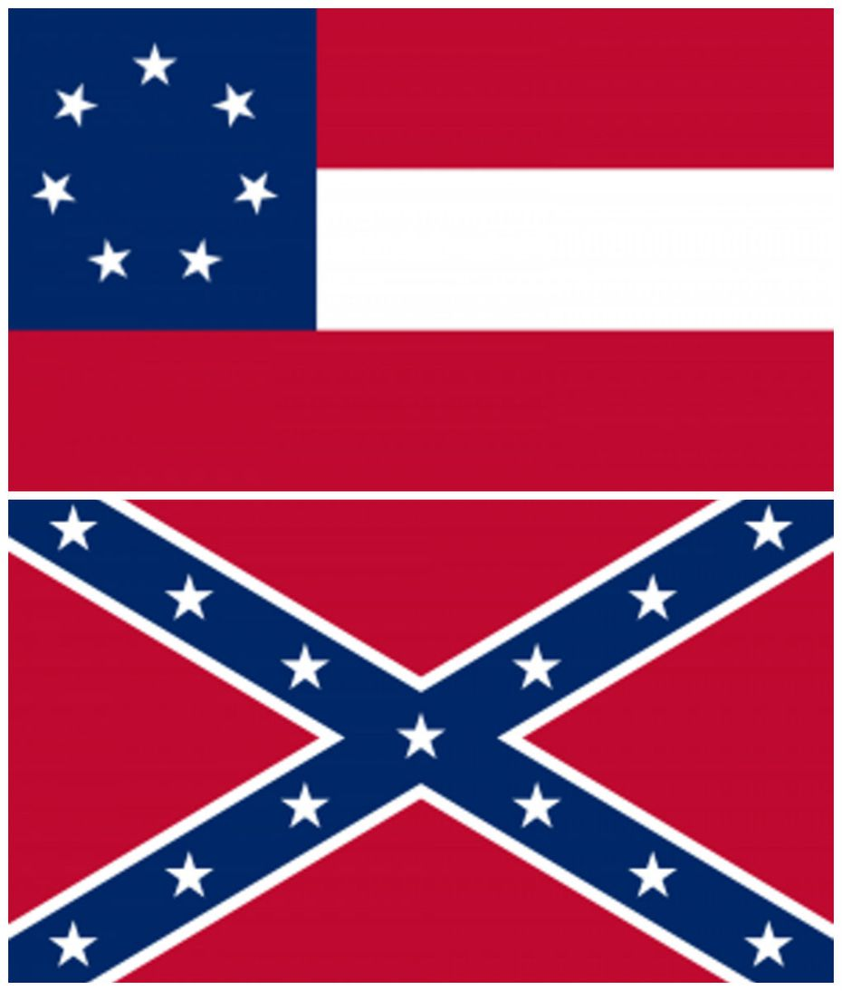 Top: The first Confederate national flag, the one that flew over Six Flags. Bottom: The Confederate battle flag.