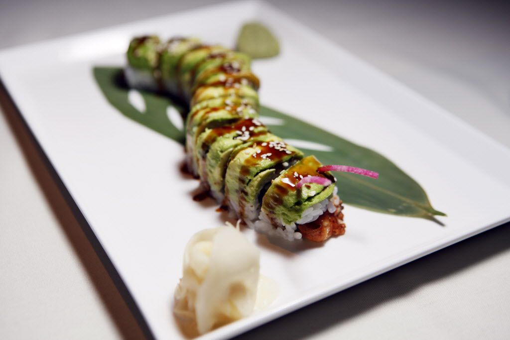 Caterpillar roll with fresh water eel, cucumber and avocado