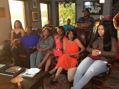 Amari Cooper gathered with his mother, Michelle Green (to Cooper's right), and other family and friends to watch the 2015 NFL Draft. Cooper was selected fourth overall by the Oakland Raiders. Earlier this season, the Cowboys' traded their 2019 first-round pick to Oakland for Cooper.