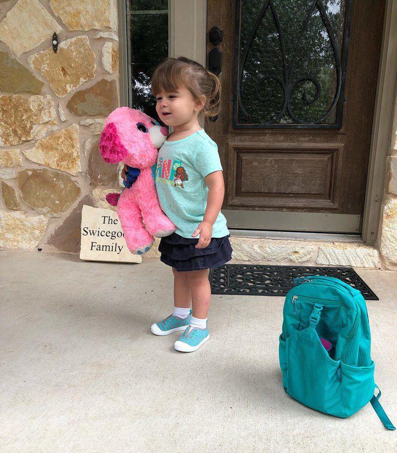 Adaline Swicegood preparing for first day of preschool
