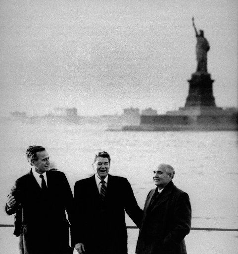 President-elect George Bush, President Ronald Reagan and Soviet leader Mikhail Gorbachev met on New York's Governors Island in December 1988 to discuss Cold War disarmament. (File Photo/The Associated Press)