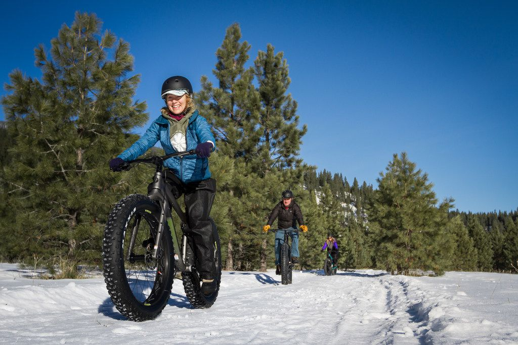 Fat tire biking is one way to burn off the calories on the snowy trails around the Triple Creek Ranch.