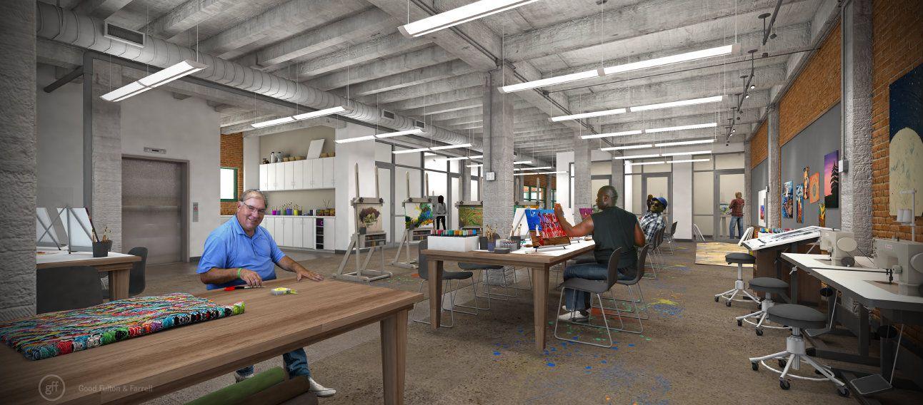 The second-floor art studio at 508 Park Avenue (Courtesy Encore Park/Good Fulton & Farrell)