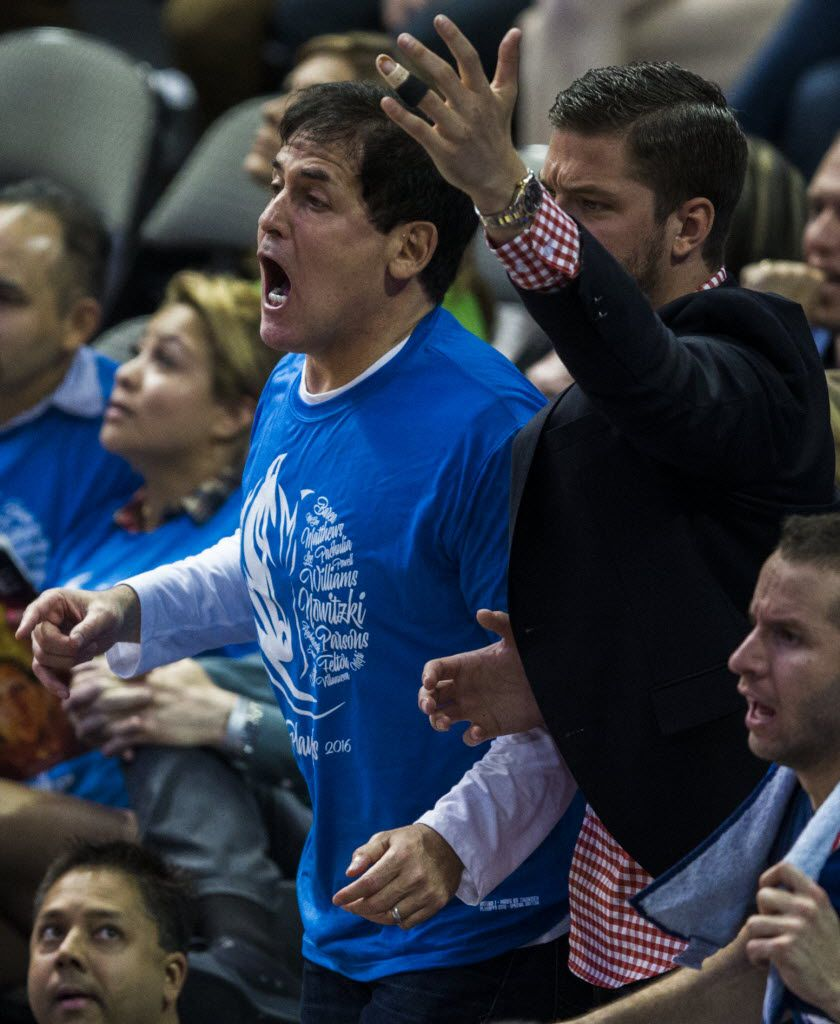 Dallas Mavericks owner Mark Cuban and former Mavs forward Chandler Parsons react to a call from the sidelines during the fourth quarter of game 4 of their series against the Oklahoma City Thunder in the first round of NBA playoffs on Saturday, April 23, 2016 at the American Airlines Center in Dallas.