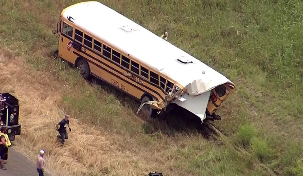 None of the 14 people on board the bus reported any serious injuries, according to the Texas Department of Public Safety.