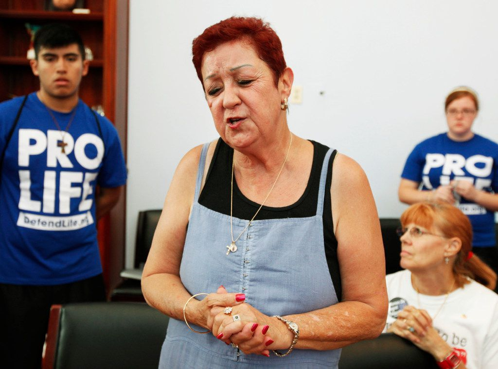 Norma McCorvey, the plaintiff in the landmark lawsuit Roe v. Wade, speaks up as she joins other anti-abortion demonstrators inside House Speaker Nancy Pelosi's office on Capitol Hill in Washington.