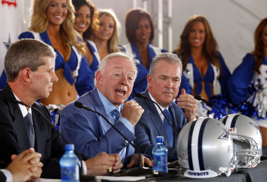 Dallas Cowboys owner/general manager Jerry Jones, addresses the crowd assembled for a press conference announcing a multi-use special events and sports facility, to be developed on a footprint of approximately 20 acres, and the Cowboys world corporate headquarters on approximately 5 acres, which will be the centerpiece of additional mixed-use development on property surrounding the teamÕs new location at Warren Parkway and the North Dallas Tollway, Tuesday, August 13, 2013. Cowboys Executive Vice President, Chief Operating Officer Stephen Jones , is seated on the right and Frisco Independent School District (FISD) Superintendent Dr. Jeremy Lyon on the left.  (Tom Fox/The Dallas Morning News) 09052013xCOWBOYSpreview