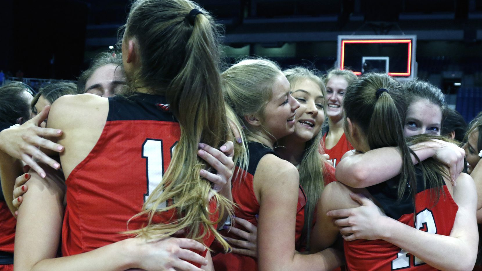 Argyle begins to celebrate after defeating Hardin-Jefferson. UIL girls basketball 4A State final between Argyle and Hardin-Jefferson on Saturday,  March 2, 2019 at the Alamodome in San Antonio, Texas. (Ron Cortes/ Special Contributor) ORG XMIT: 10043975A