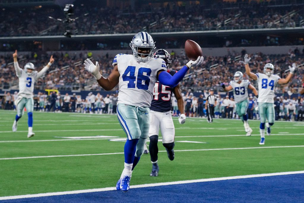 Cowboys running back Jordan Chunn (46) celebrates a touchdown during the third quarter of a preseason game against the Houston Texans at AT&T Stadium on Saturday, Aug. 24, 2019, in Arlington.