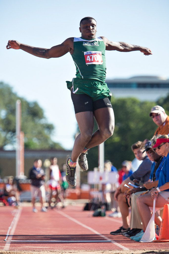 FILE - Waxahachie's Jalen Reagor (4709) takes a jump during the 5A Boys long jump during the UIL state track meet at the Mike A. Myers Stadium, at the University of Texas on May 12, 2017 in Austin, Texas. (Thao Nguyen/Special Contributor)