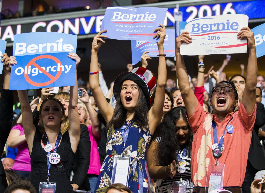 Bernie Sanders supporters cheer during Day 2 of the Democratic National Convention on July 26, 2016, in Philadelphia.