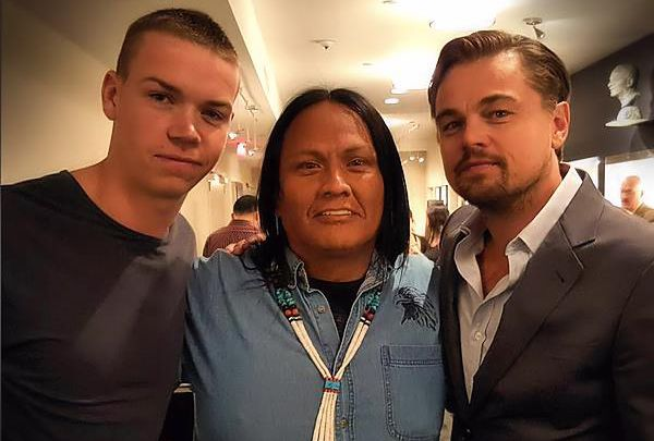 Arthur Redcloud said he learned a lot from Will Poulter, left, and Leonardo DiCaprio (Facebook.com/RedcloudArthur)