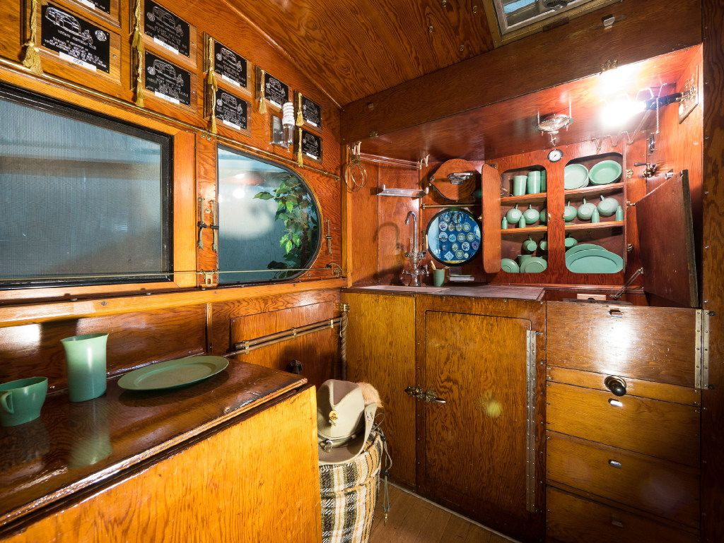 The interior of this 1935 Airstream Torpedo was hand-crafted from plywood.