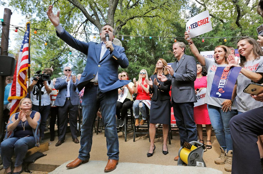 Sen.Ted Cruz campaigned at the Katy Trail Ice House Outpost in Plano on Thursday.