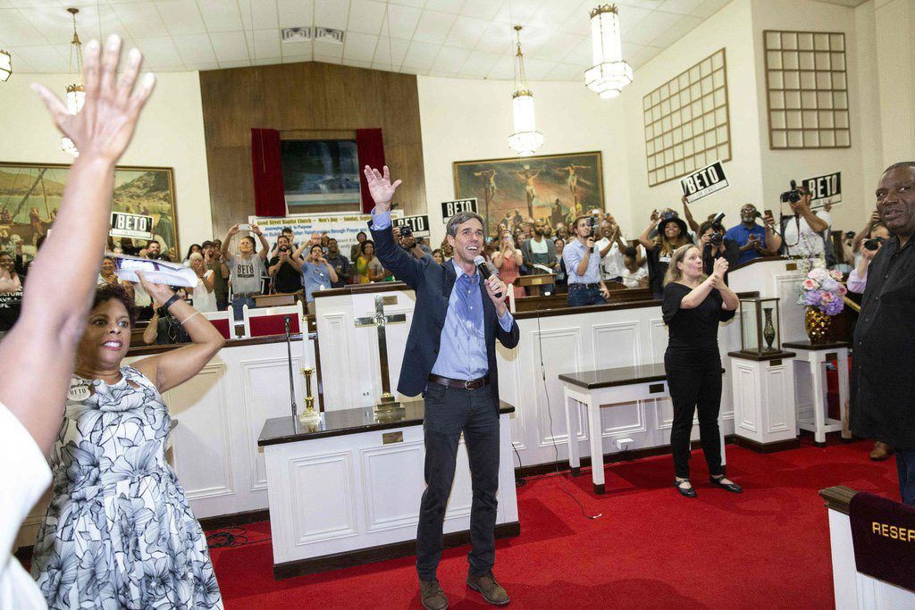 U.S. Representative Beto O'Rourke campaigns in Dallas, Texas, on September 14, 2018. - O'Rourke is the Democratic challenger for the U.S. Senate seat currently held by U.S. Senator Ted Cruz .