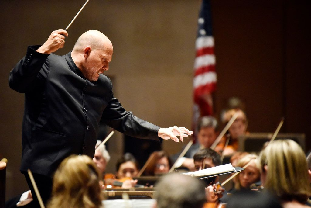 Dallas Symphony Orchestra conductor Jaap Van Zweden conducts the DSO during a performance of Mahler Symphony No. 5 in C-sharp minor in 2017.