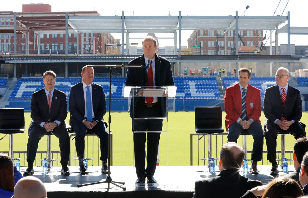FC Dallas president Dan Hunt speaks during a news conference at Toyota Stadium in Frisco on Tuesday, Dec. 12, 2017. Seated from left are FC Dallas chairman Clark Hunt; Frisco Mayor Jeff Cheney; John Harkes, a member of the 2005 National Soccer Hall of Fame class; and U.S. Soccer Federation secretary general/CEO Dan Flynn.