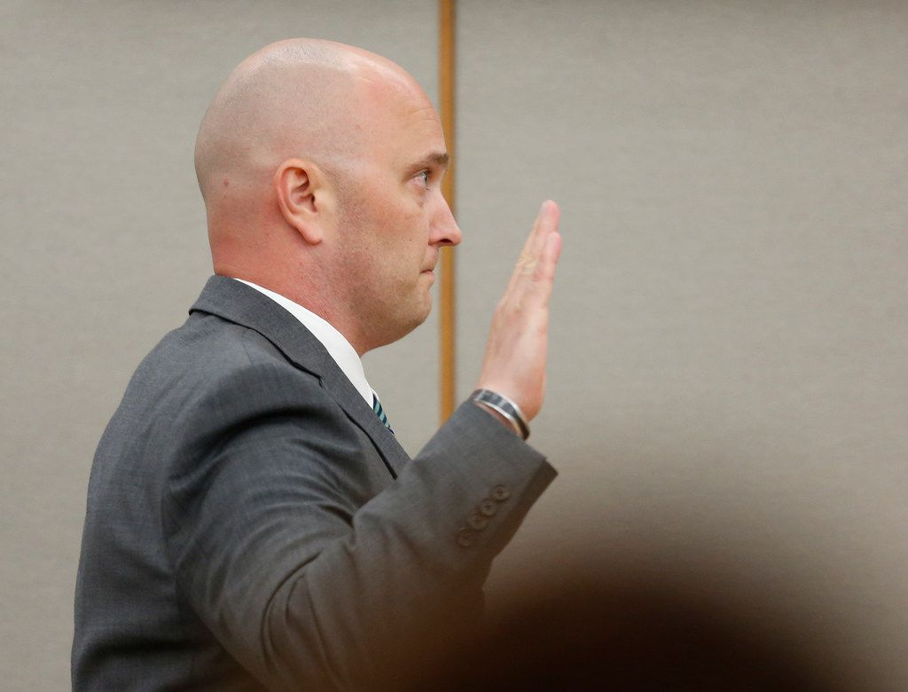 Fired Balch Springs police officer Roy Oliver, who is charged with the murder of 15-year-old Jordan Edwards, prepares to give testimony during the sixth day of his trial.