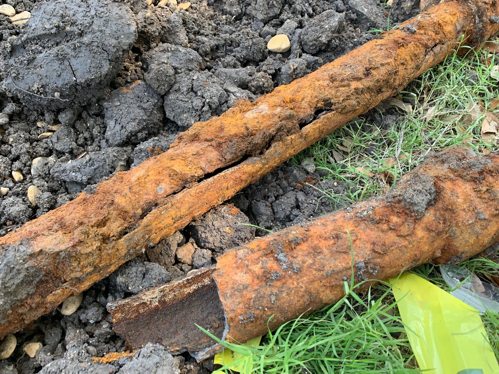 Corroded pipes found under Ryan Hines' home. The state of the home's corroded and deficient plumbing system was not noted in inspections, Hines said.