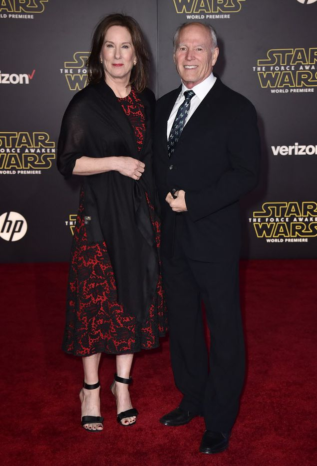 """Kathleen Kennedy, left, and Frank Marshall arrive at the world premiere of """"Star Wars: The Force Awakens"""" at the TCL Chinese Theatre on Monday, Dec. 14, 2015, in Los Angeles."""