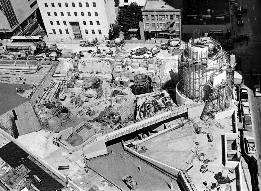 Thanks-Giving Square under construction in July 1976 (Dallas Public Library-Texas/Dallas History and Archives Division/The Dallas Morning News Collection)