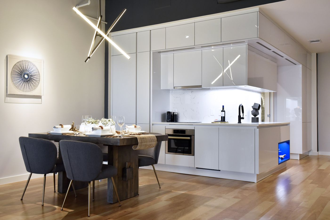 The kitchen area inside a model apartment for Bluelofts urban high-rise facilities in downtown Dallas.