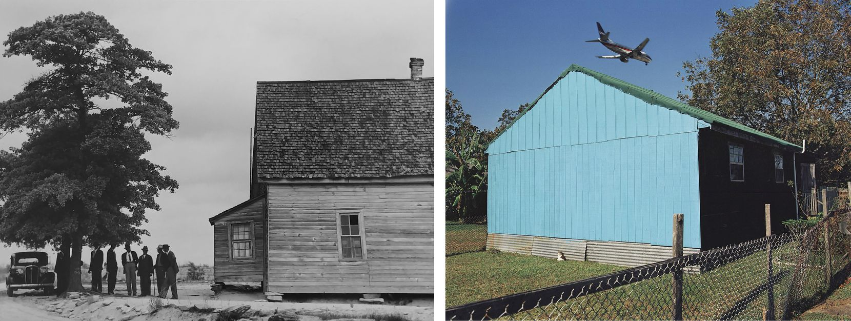 (LEFT) Jack Delano, Untitled, 1940; (RIGHT) William Greiner, Jet Over Blue and Black House, Kenner, La., 1994