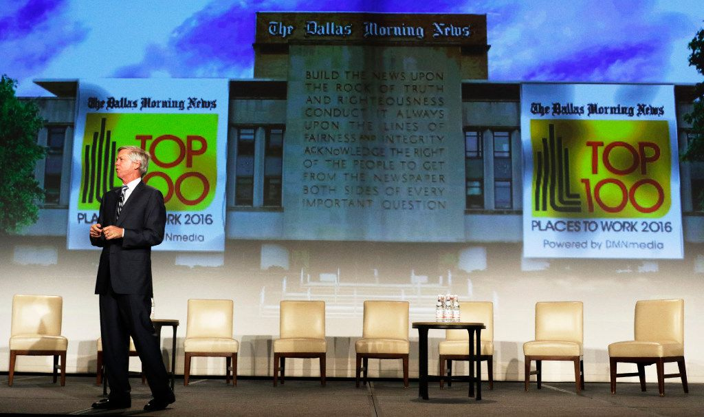 Jim Moroney, Publisher and CEO of the Dallas Morning News speaks during the Top 100 Place to Work luncheon at the Dallas Omni Hotel on Friday, November 17, 2016 in Dallas, Texas. (David Woo/The Dallas Morning News)