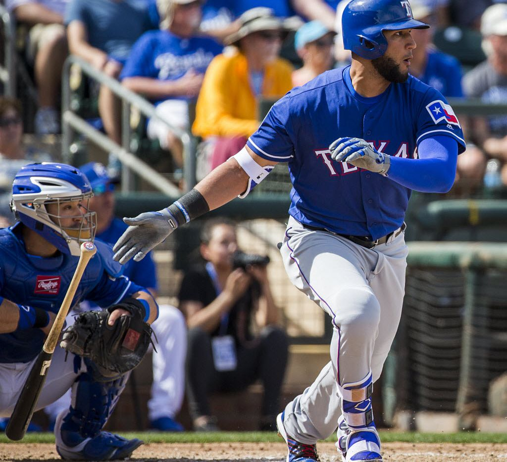 Texas Rangers outfielder Nomar Mazara follows through on a single during a spring training game against the Kansas City Royals at Surprise Stadium on Thursday, March 3, 2016, in Surprise, Ariz. (Smiley N. Pool/The Dallas Morning News)