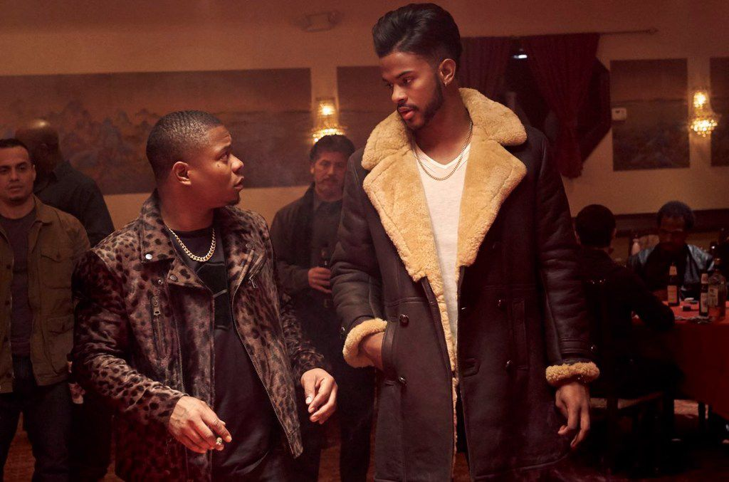 "Jason Mitchell, left, and Trevor Jackson in a scene from the film ""Superfly."""