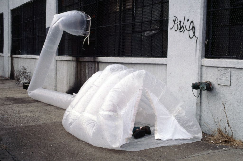A work by Nasher Prize winner Michael Rakowitz called paraSITE that actually houses the homeless.