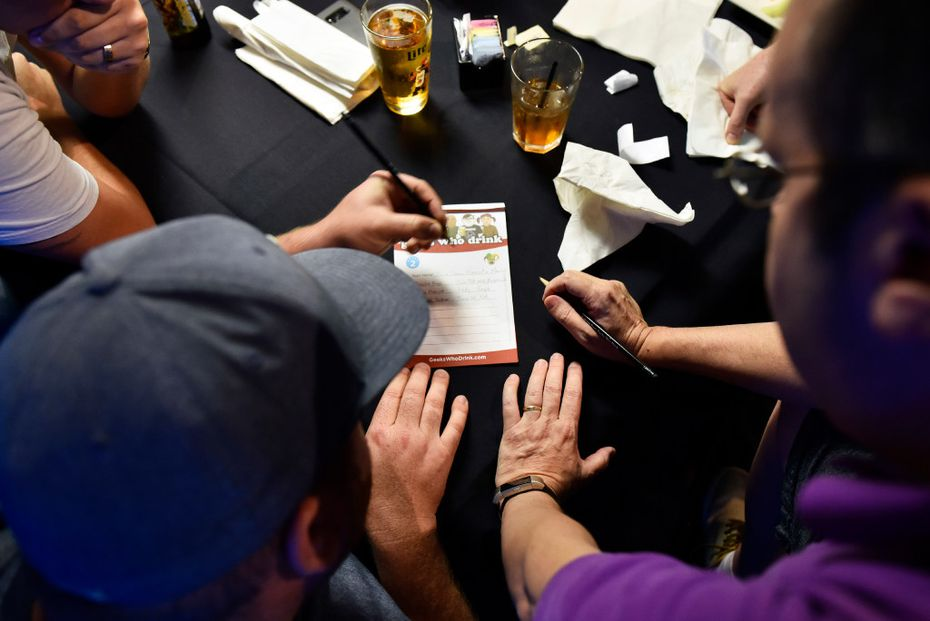 """Trivia rounds move fast at Geeks Who Drink events, and have themes like """"Tangentials and Tan Genitals: A Round on Geometry and Nude Beaches."""""""