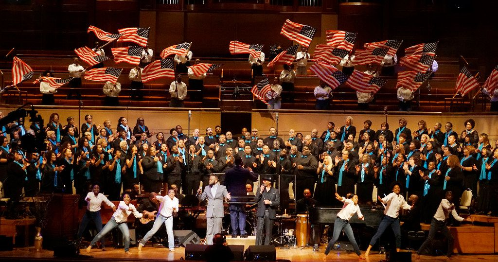 A 200-member choir sang old and new songs during the Black Music and the Civil Rights Movement Concert at the Morton H. Meyerson Symphony Center in 2018. The event was produced by Curtis King of The Black Academy of Arts & Letters.