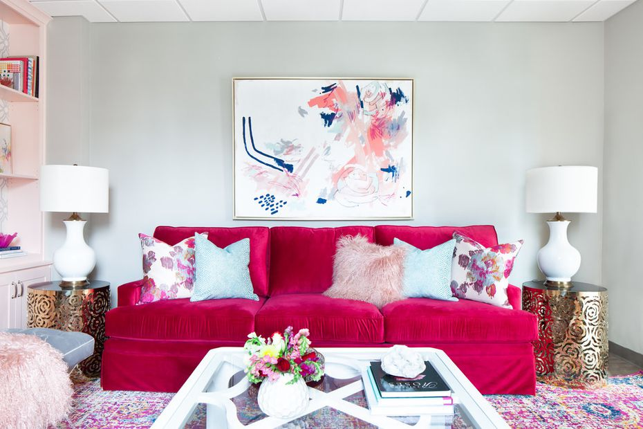 Decide on a couch that encourages guests to sit, back, relax and stay a while, says Abbe Fenimore.