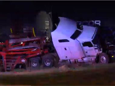 An image from the scene where a train crashed into a semi-truck in Keller, taken from footage captured by Metro Video Dallas/Fort Worth.