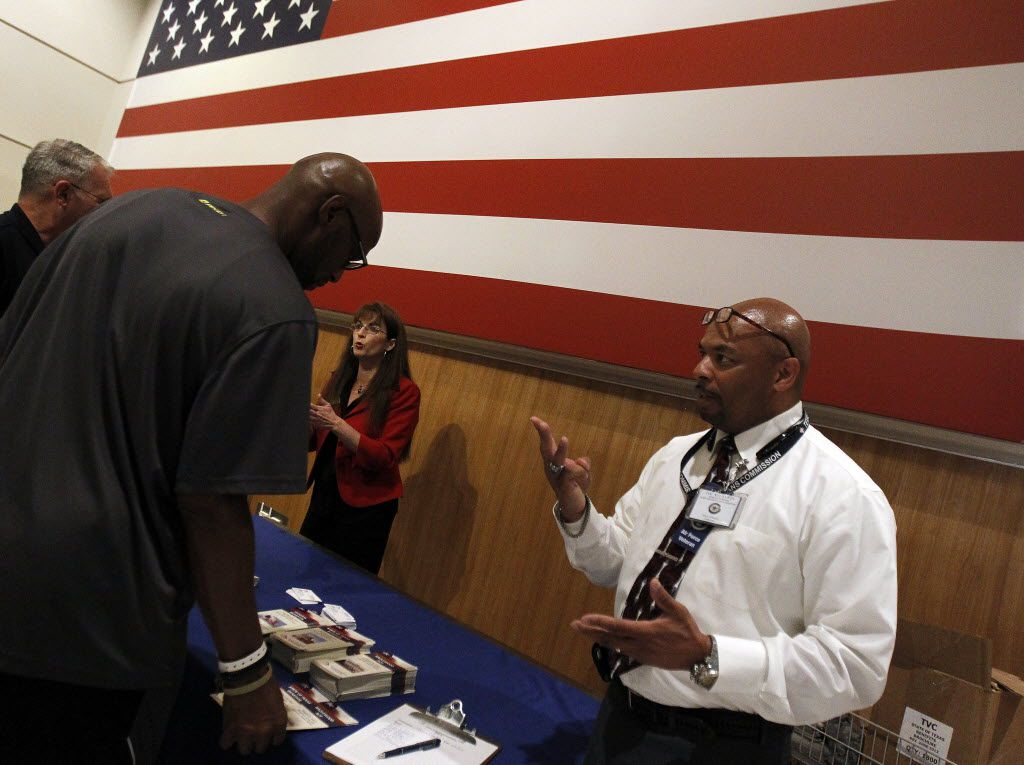 Tim McLaurin, a veterans counselor with the Texas Veterans Commission, answered questions about services available during a health fair at the VA.  A veterans benefits health fair, sponsored by the VA North Texas Health Care System, provided information on services available at the Dallas VA Medical Center on Saturday, June 07, 2014.