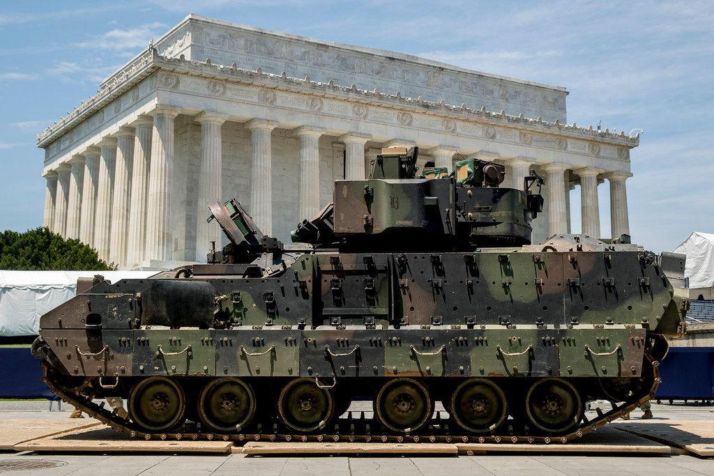 One of two Bradley Fighting Vehicles waited on July 3 to be driven in front of the Lincoln Memorial for President Donald Trump's 'Salute to America' event honoring service branches on Independence Day.
