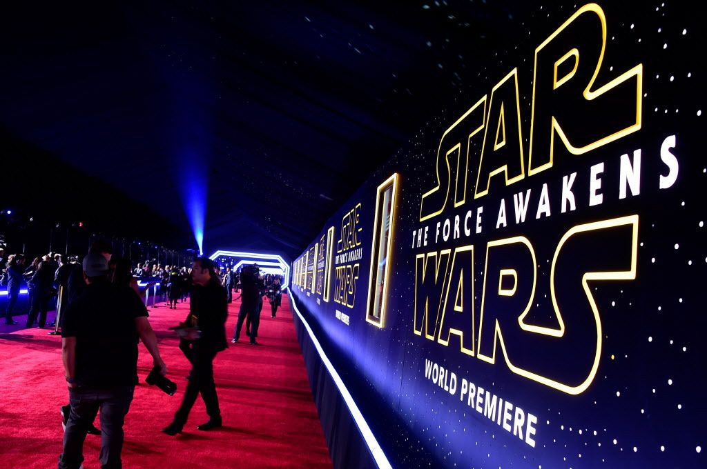 """HOLLYWOOD, CA - DECEMBER 14:  """"Star Wars: The Force Awakens"""" premiere signage is displayed at the premiere of Walt Disney Pictures and Lucasfilm's """"Star Wars: The Force Awakens"""" at the Dolby Theatre on December 14th, 2015 in Hollywood, California."""