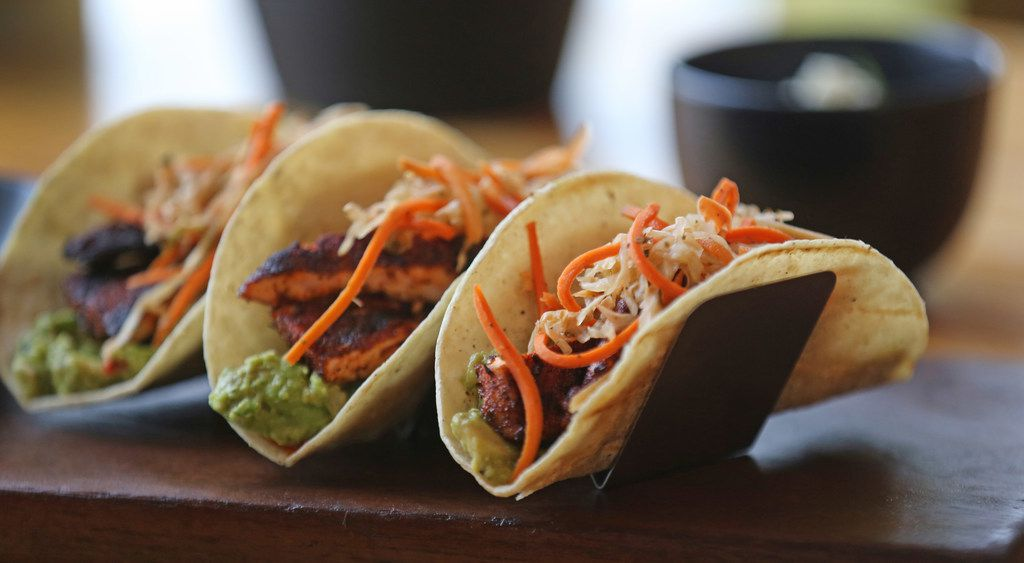The organic salmon tacos at Righteous Foods