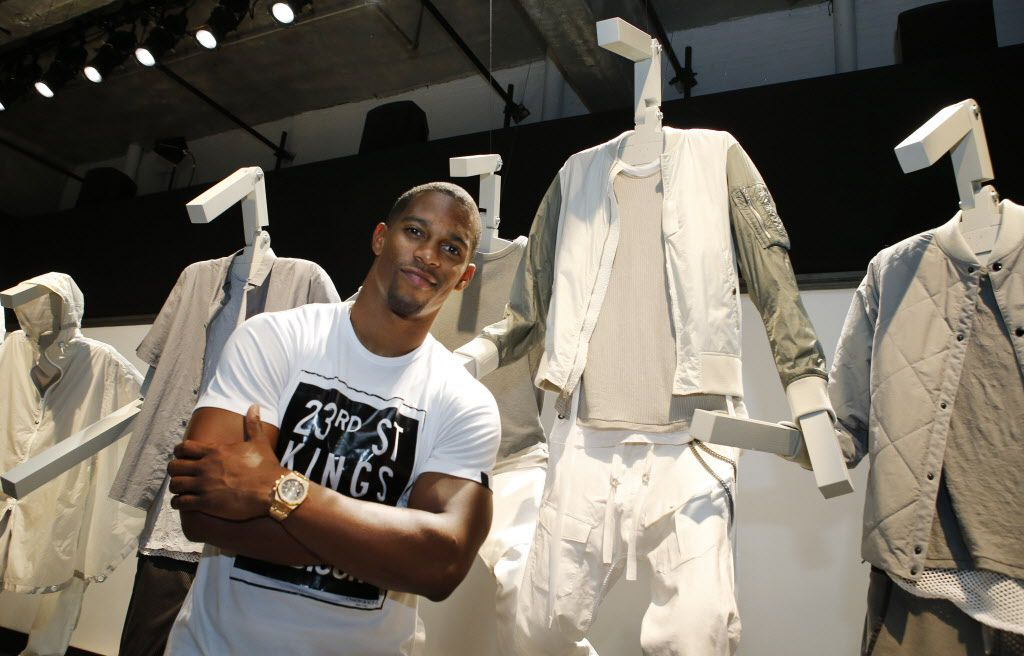 New York Giants wide receiver Victor Cruz poses for a photograph during the Rag and Bone Spring/Summer 2016 presentation at Men's Fashion Week in New York.