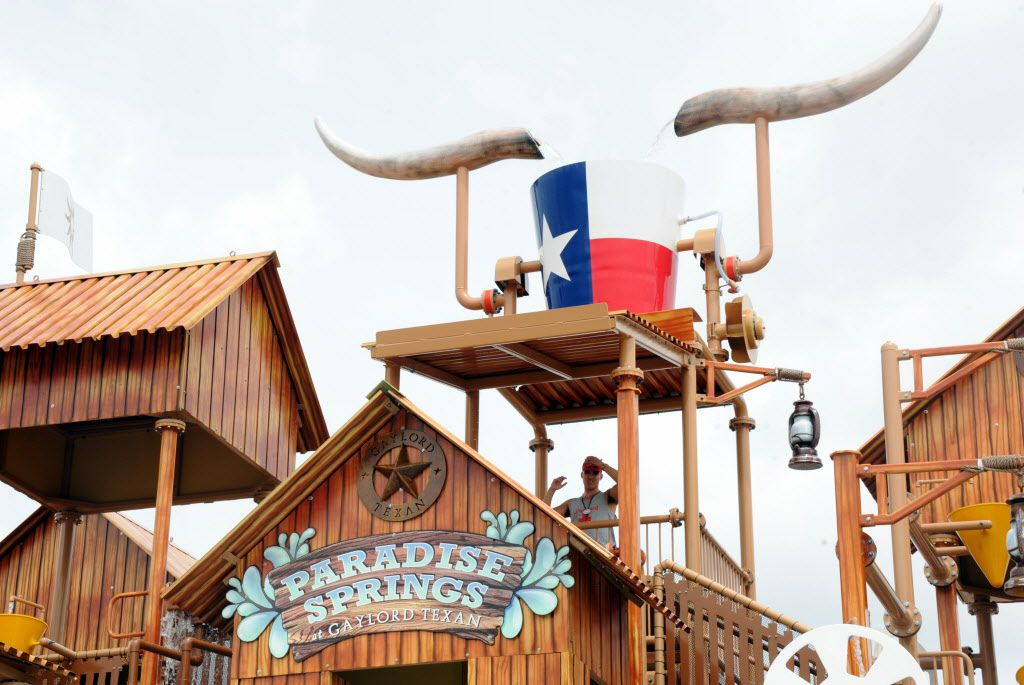The giant bucket fills with water and tips over every two-and-a-half minutes at Paradise Springs at Gaylord Texan in Grapevine, TX on June 12, 2016. (Alexandra Olivia/ Special Contributor)