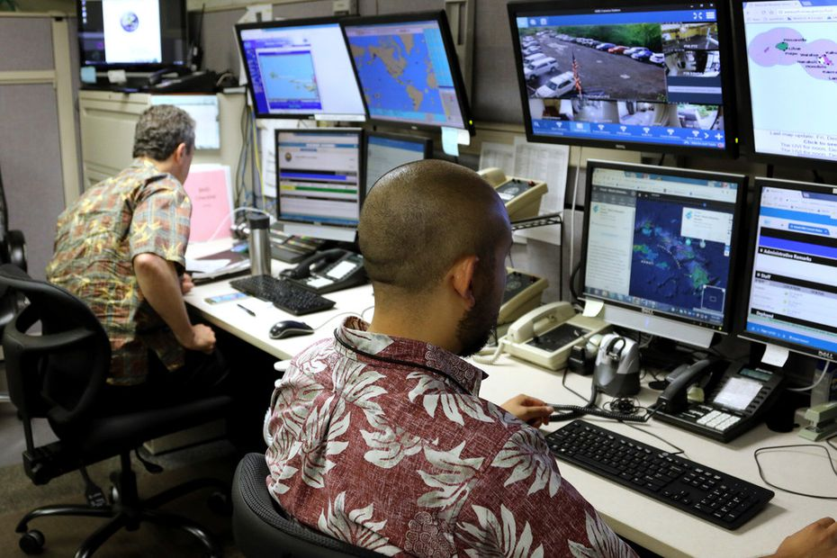 Hawaii Emergency Management Agency officials work at the department's command center in Honolulu in 2017. A false alert of a possible ballistic missile strike was issued on Saturday and wasn't corrected for 38 minutes.