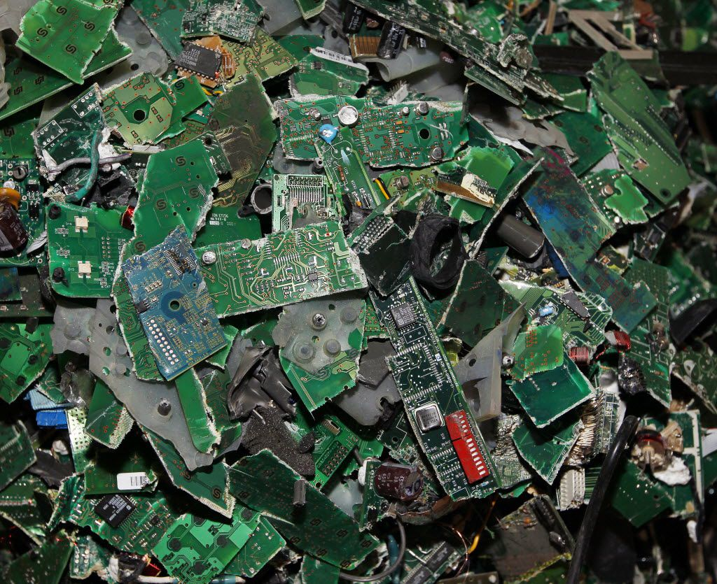 High-grade circuit boards are collected during the recycling process. (David Woo/The Dallas Morning News)