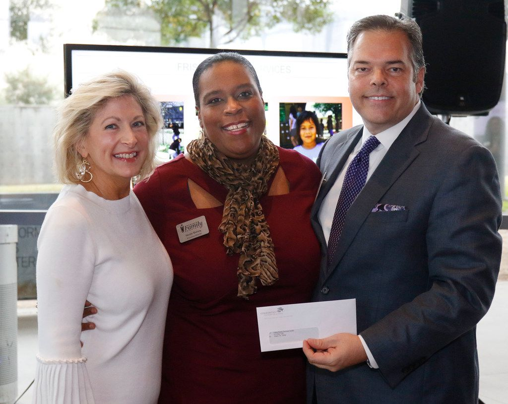 Camille Grimes, executive director, The Dallas Morning News Charities, from left, Nicole Bursey, executive director of Frisco Family Services Center and Richard Jones, chairman of DMN Charities, pose during the Dallas Morning News Charities kick-off event at the Winspear Opera House on Nov. 15, 2017.