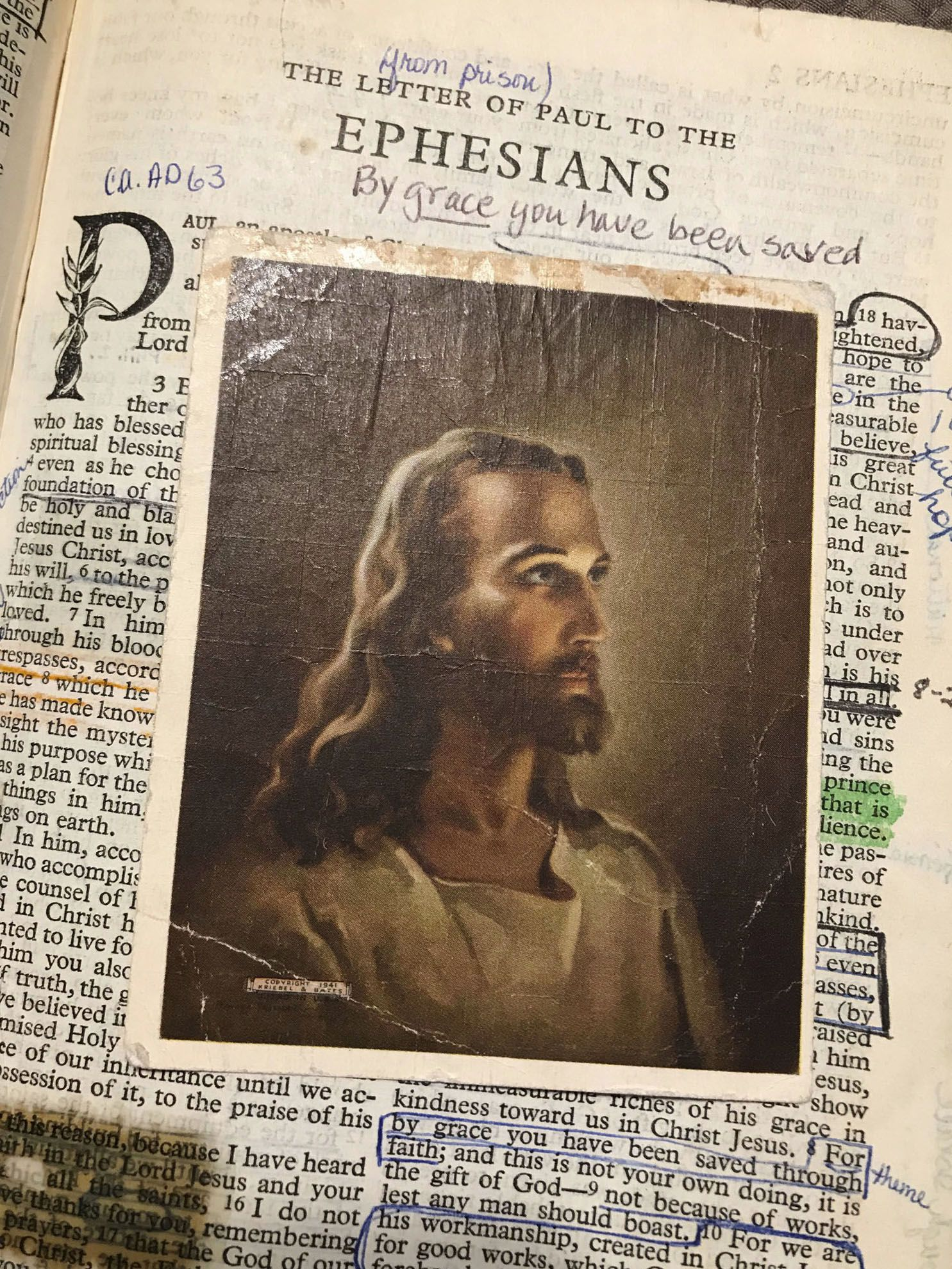 "A small print of the image Head of Christ, originally created by Warner E. Sallman in 1940, has been kept for over 50 years in the personal Bible belonging to Peggy van Wunnik of Dallas. The image is emblazoned ""Copyright 1941, Kriebel & Bates,"" who marketed and sold copies of it."