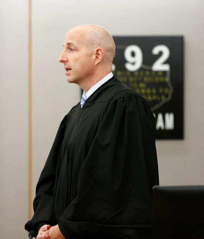 Judge Brandon Birmingham speaks with jurors Friday, as the second week of Roy Oliver's murder trial comes to an end.