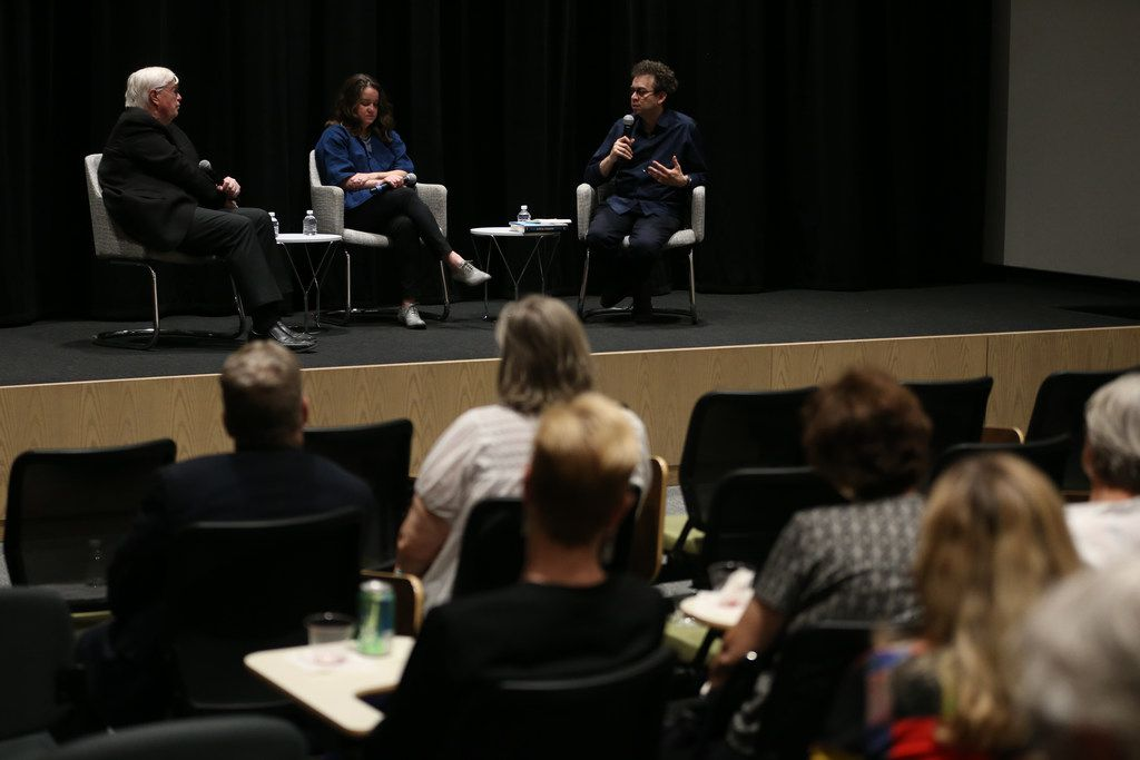 Arts writer Michael Granberry (left), director of the David Dillon Center for Texas Architecture at the University of Texas at Arlington Kathryn E. Holliday, and architecture critic Mark Lamster participate in a Duets discussion on  May 21, 2019 in Dallas.