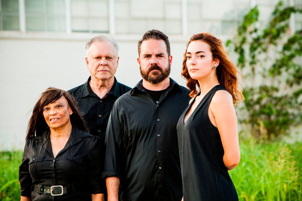 From left: Rhonda Boutte, John S. Davies, Max Hartman and Janielle Kastner perform in A Stain Upon the Silence: Beckett's Bequest, a series of short plays by and influenced by Samuel Beckett from Kitchen Dog Theater at Trinity River Arts Center in Dallas Oct. 7-29. (Matthew Mrozek)