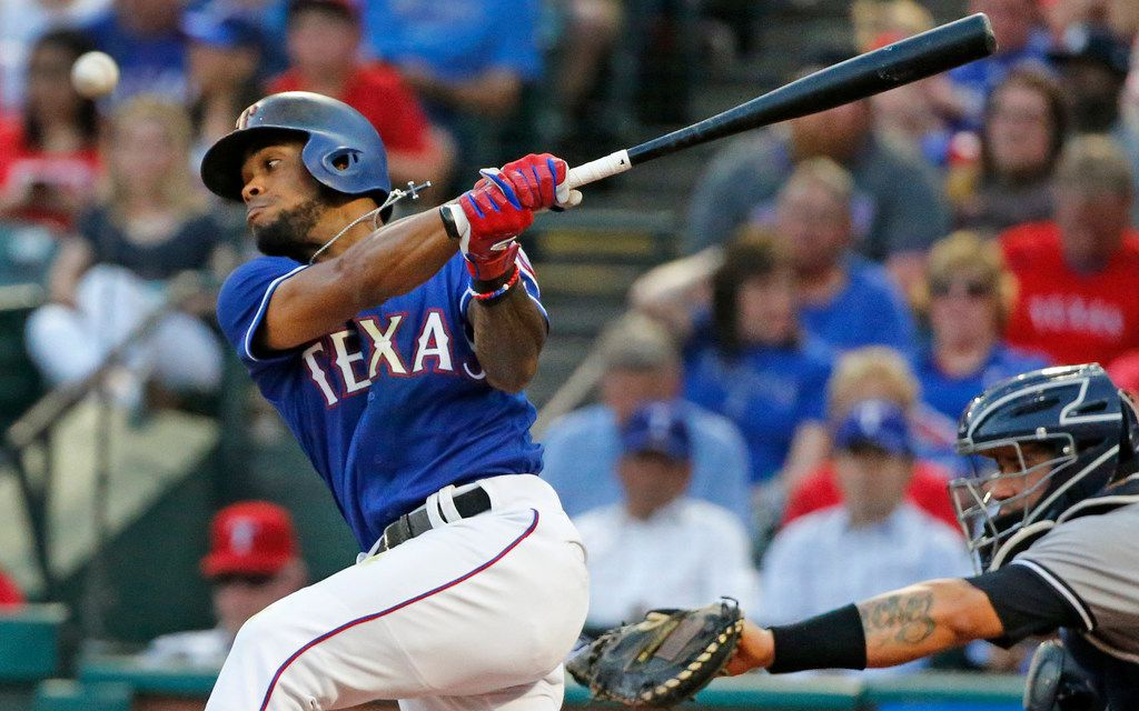 FILE - Texas Rangers center fielder Delino DeShields (3) fouls off a pitch during the New York Yankees vs. the Texas Rangers major legue baseball game at Globe Life Park in Arlington, Texas on Monday, May 21, 2018. (Louis DeLuca/The Dallas Morning News)